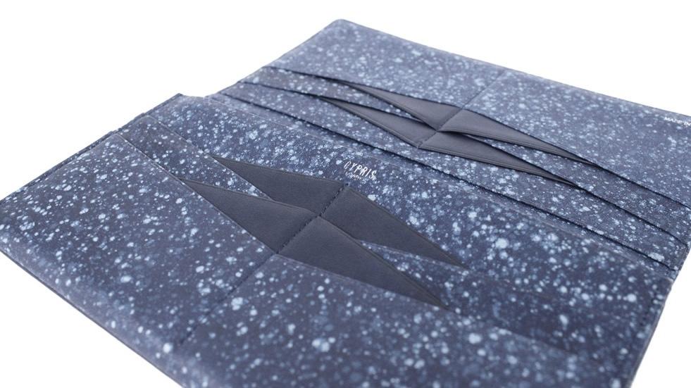 折り紙をモチーフにした革小物 藍シリーズ
