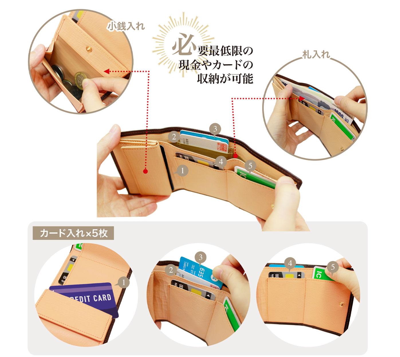 革財布キプリスのシラサギレザー 三つ折り財布。小銭入れ、カード5枚入れ、札入れを完備。必要最低限の現金やカードが収納可能。