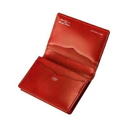 革財布キプリスのコードバン&シラサギレザー 通しマチ名刺入れ
