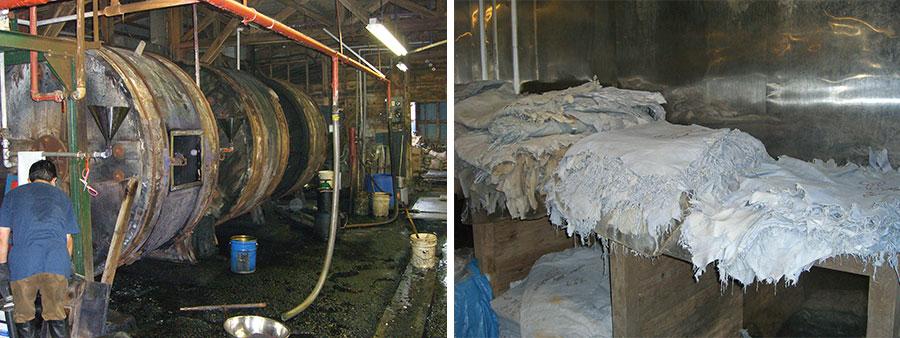 皮から革へ変える「ドラム(タイコ)」。革の種類や量にもよるが、だいたい丸1日回転させる(左)。国産の原皮をなめしたもの。皮から革になった(右)。