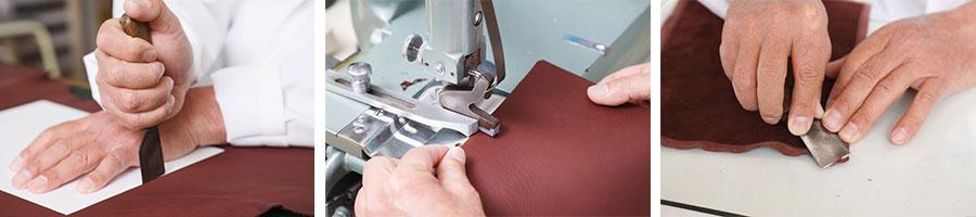 革包丁で裁断する手断ちの工程(左)。革漉きによる漉きの工程(中)。角は手漉きで行う。厚みは0.1mmほど。(右)。