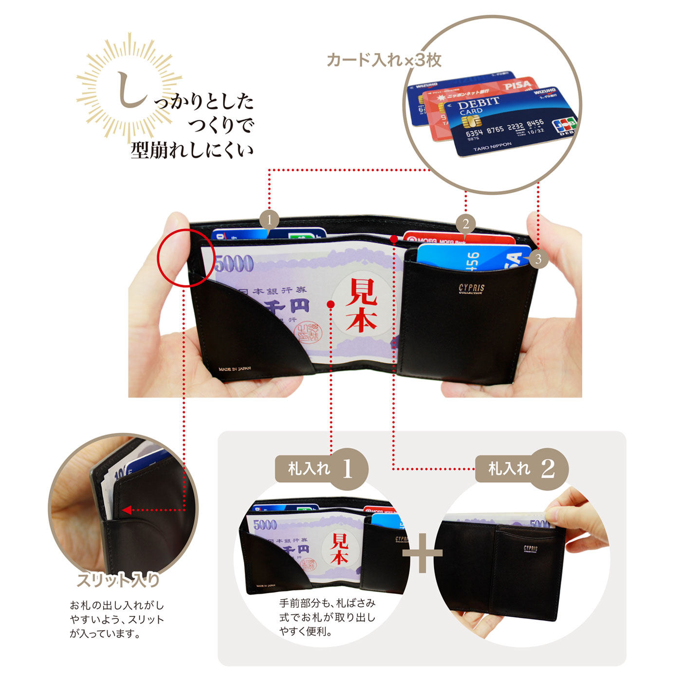 キプリス リザードコンパクト札入れ。カード入れ3枚、札入れ2か所、スリット入りでお札が出し入れしやすい。