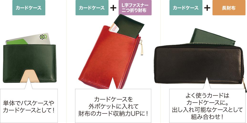 カードケース:単体でパスケースやカードケースとして。カードケース+L字ファスナー二つ折り財布:カードケースを外ポケットに入れて財布のカード収納力アップに。カードケース+長財布:よく使うカードはカードケースに。出し入れ可能なケースとして組み合わせ。