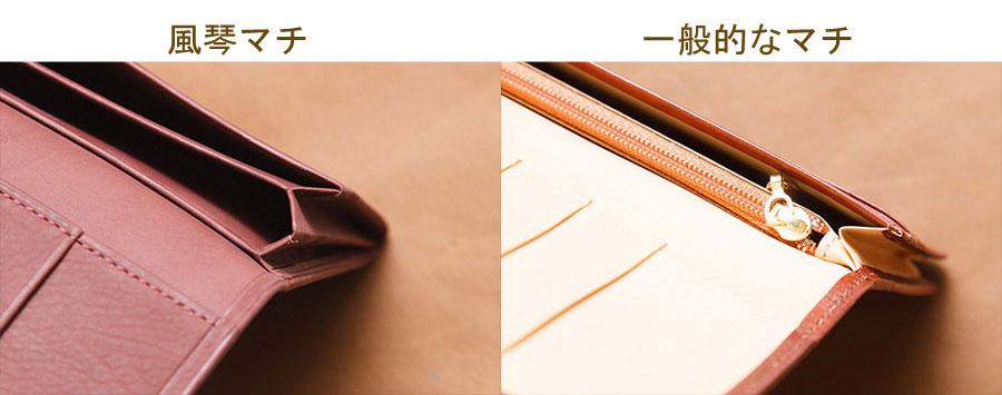 名刺などのカード類を傷つけない構造の風琴マチ(左)。右は通常のマチ(右)。