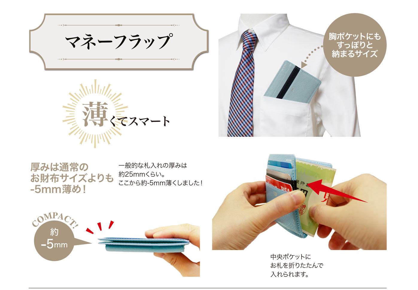 抗菌加工の財布 キプリス ポケウォレ マネーフラップ 薄くてスマート。胸ポケットにもすっぽりと納まるサイズ。厚さは約5mmで中央ポケットにお札を折りたたんで入れられます。