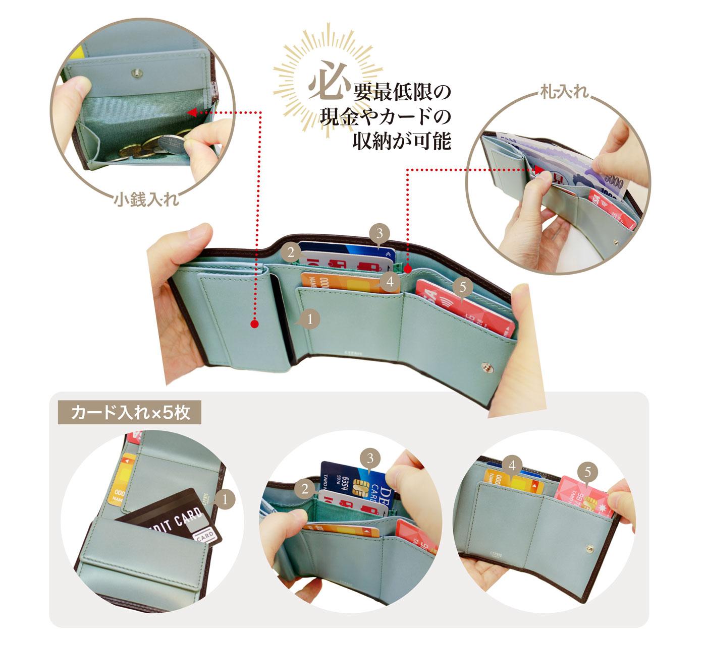 コンパクト財布、革、コンパクトウォレットのキプリス ポケウォレ-BR 三つ折り財布。小銭入れ、カード5枚入れ、札入れ完備。必要最低限の現金やカードが収納可能。
