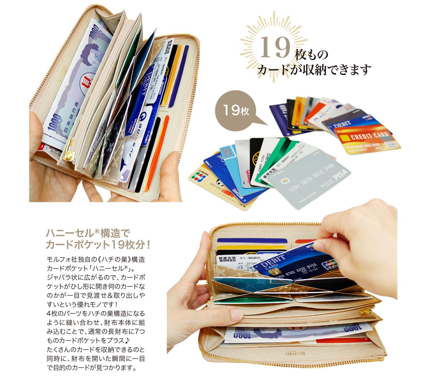 キプリス リサッカ【WEB限定商品】L字ファスナーハニーセル長財布リサッカ。19枚ものカードが収納可能