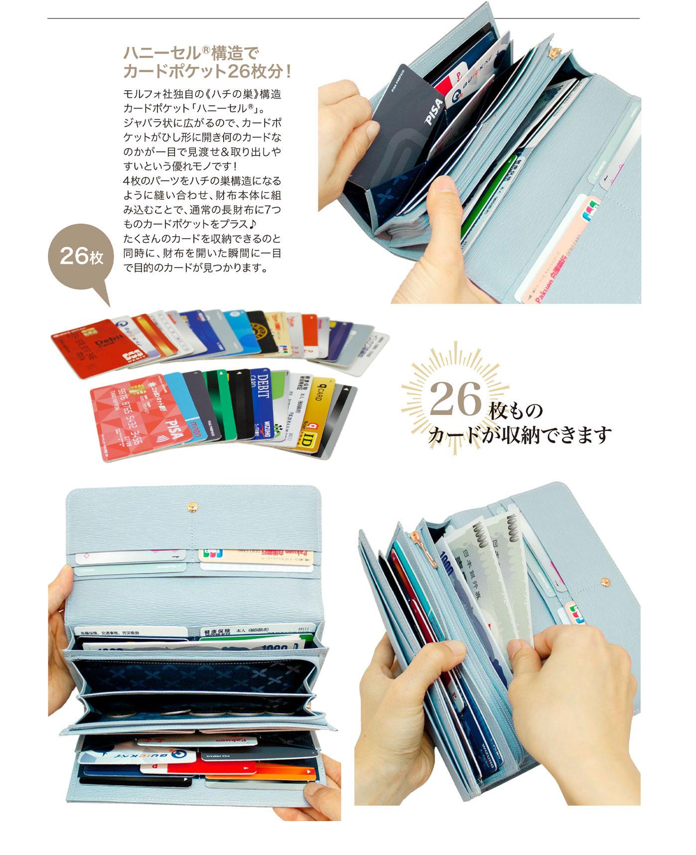 キプリス リサッカ【WEB限定商品】かぶせハニーセル長財布リサッカ。26枚ものカードが収納可能