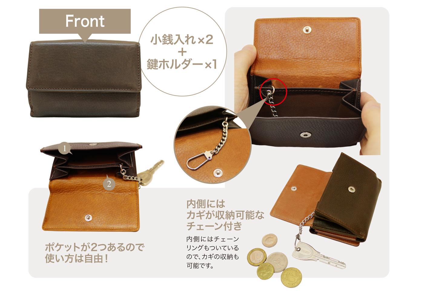 キプリス シルキーキップ三つ折り財布。フロントに小銭入れ2つと鍵ホルダー1つを完備。