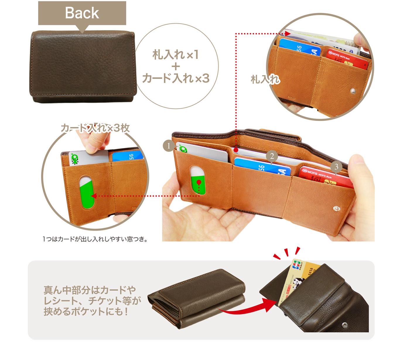キプリス シルキーキップ三つ折り財布。バックに札入れ一か所と、カード入れ3つを完備。真ん中部分はカードやレシート、チケット等が挟めるポケットになります。
