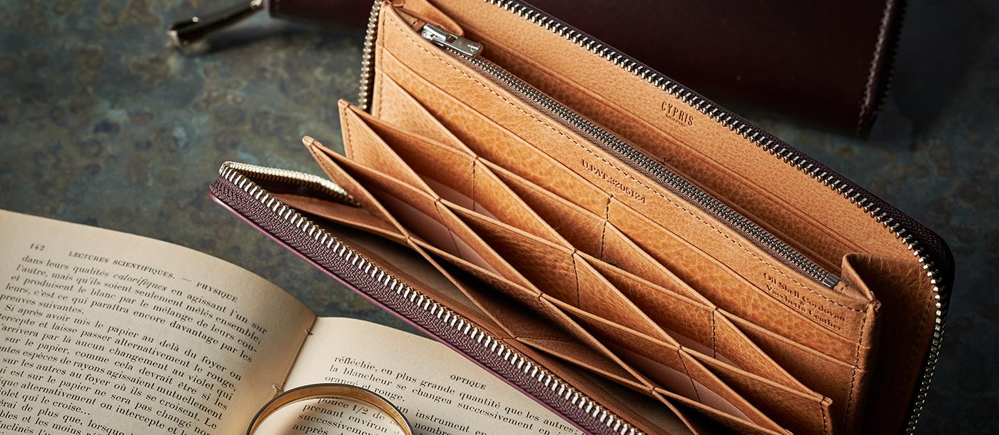 革小物 革財布のキプリス オイルシェルコードバン&ヴァケッタレザー