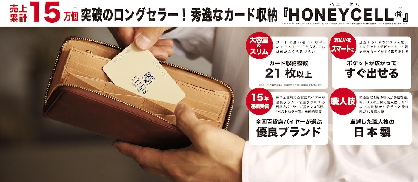 キャッシュレス時代をハニーセル革財布でスマートに!ハニーセル®・カードポケット