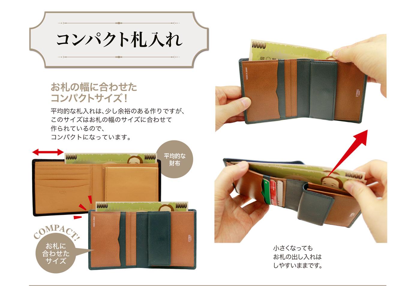 キプリス テルヌーラコンパクト札入れ。お札の幅にジャストフィットするコンパクトサイズ。
