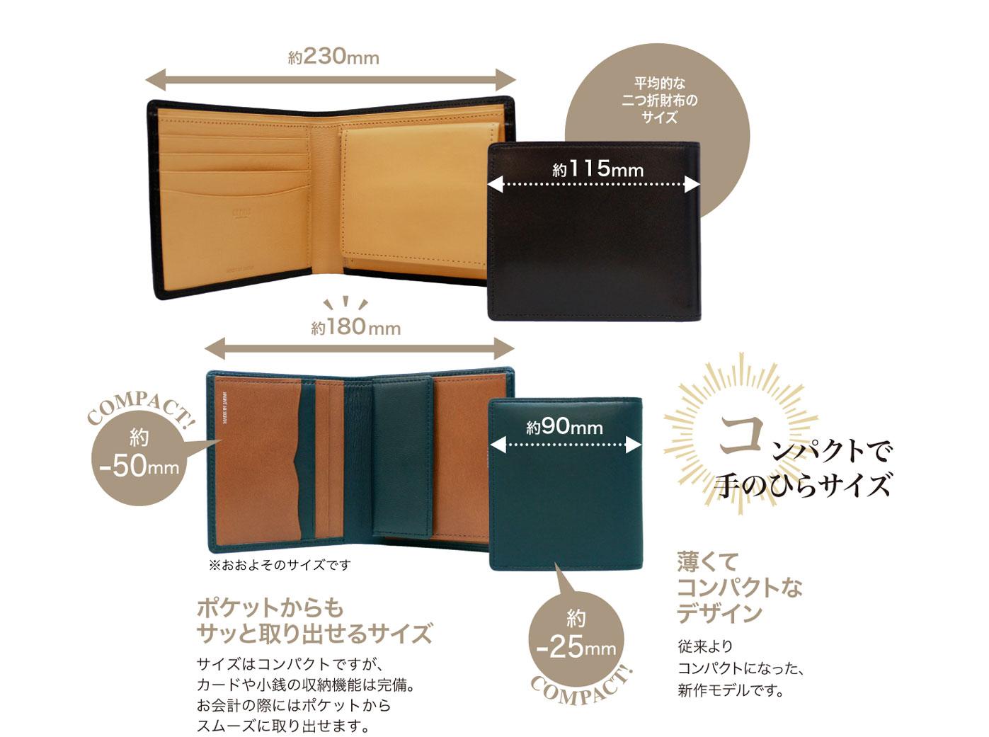 キプリス テルヌーラコンパクト札入れ。サイズはコンパクトですが、カードや小銭の収納機能は完備。お会計の際にポケットからスムーズに取り出せます。