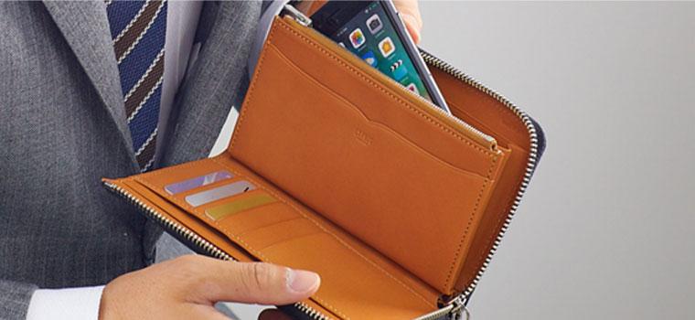 ストラップ付の特製財布で、スマートフォンとお金をコンパクトに持ち運革製モバイルウォレット