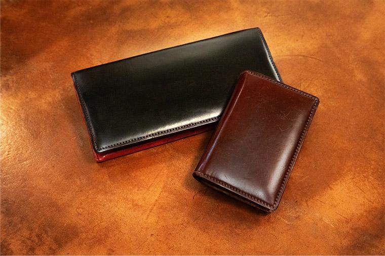 愛用されている「キプリス」コードバン&シラサギレザーの長財布とホーウィンシェルコードバンの名刺入れ