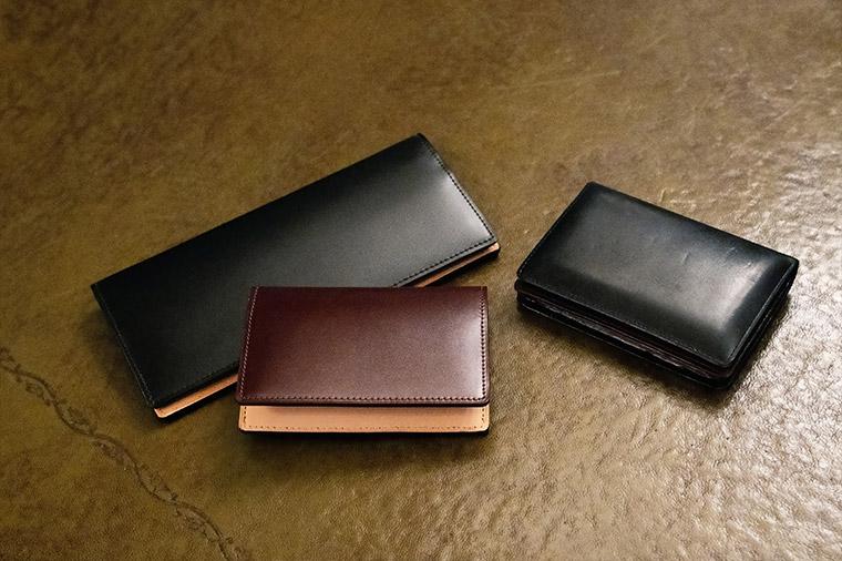 所有されている「キプリス」コードバン&ベジタブルタンニンレザーの長財布&名刺入れ、ボックスカーフ&リンピッドスカーフの名刺入れ