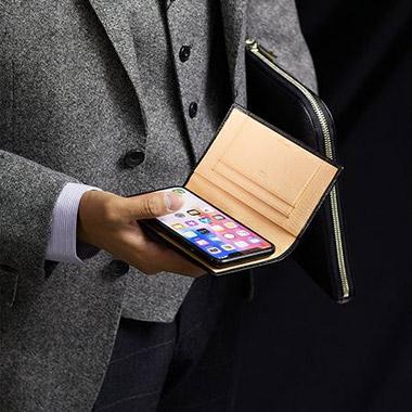 スマートフォンケース(スライド式・縦150mmまで対応)|シラサギレザー