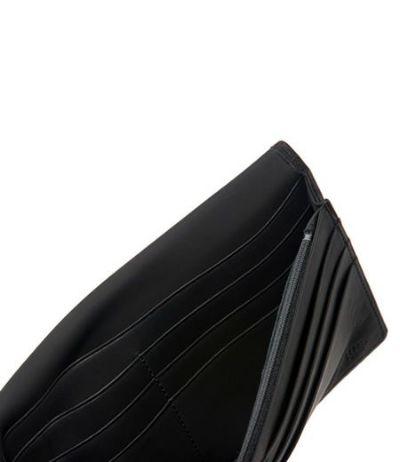 ファスナー付通しマチ長財布|レーニアカーフ |ブラック