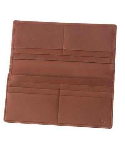 ファスナー付通しマチ長財布|レーニアカーフ |ワイン