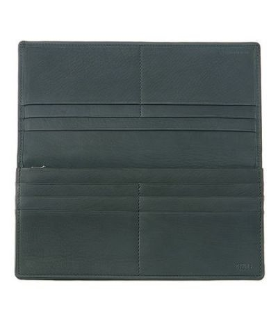 ファスナー付通しマチ長財布|レーニアカーフ |ネイビー