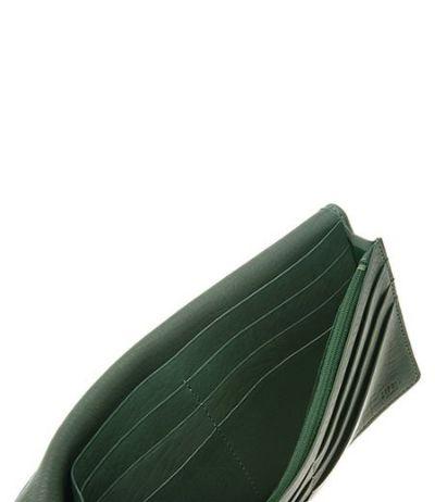 ファスナー付通しマチ長財布|レーニアカーフ |グリーン