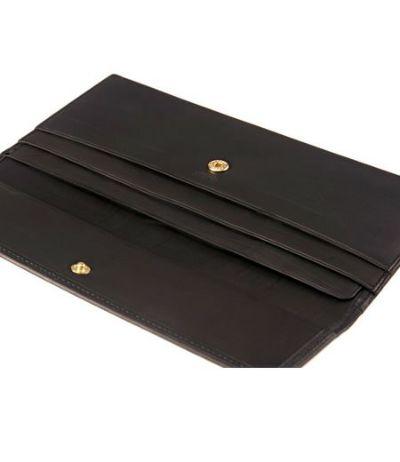 マチなし長財布|レーニアカーフ |ブラック