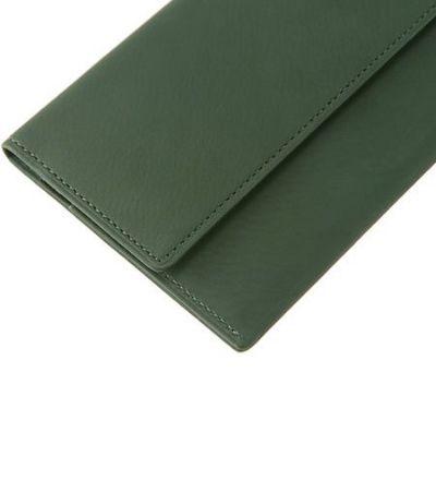 マチなし長財布|レーニアカーフ |グリーン