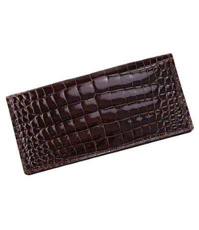 長財布(通しマチ束入) 艶クロコダイル&シラサギレザー