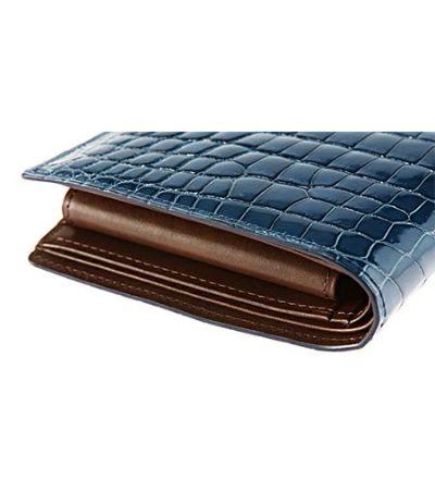 二つ折り財布(小銭入れ付き札入) 艶クロコダイル&シラサギレザー