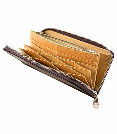 ハニーセル長財布(ラウンドファスナー束入) オイルシェルコードバン&ヴァケッタレザー