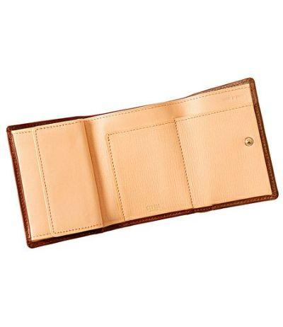 三つ折り財布|シラサギレザー|ブラウン