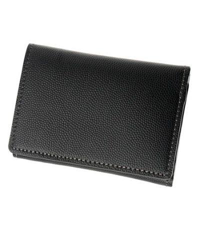 コンパクト三つ折り財布 ペルラネラ ブラック×レッド