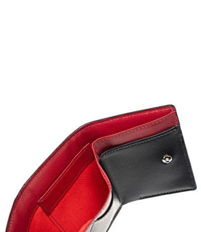 コンパクト三つ折り財布|ペルラネラ|ブラック×レッド