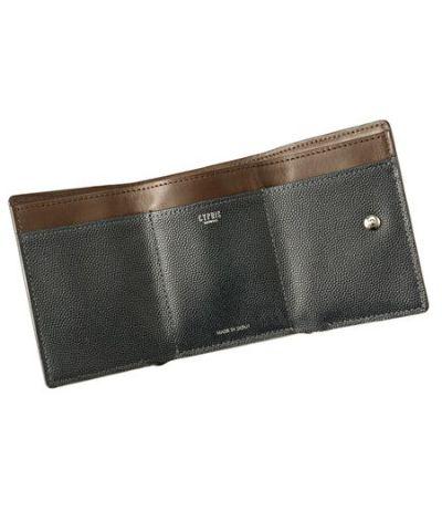 コンパクト三つ折り財布|ペルラネラ|ネイビー×ダークブラウン