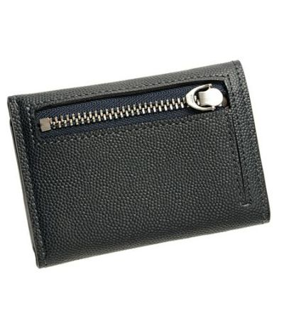 コンパクト三つ折り財布 ペルラネラ ネイビー×ダークブラウン